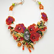 Русский стиль handmade. Livemaster - original item Choker In my garden with natural stones embroidery with micro beads. Handmade.