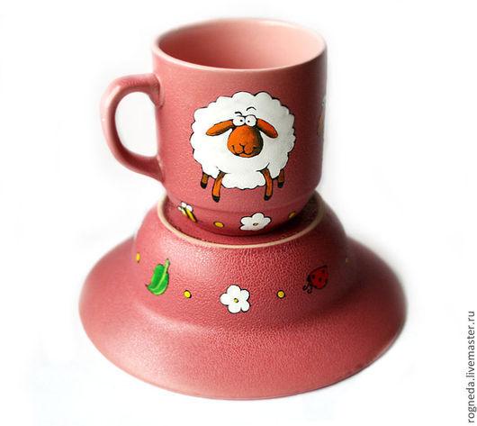 Сервизы, чайные пары ручной работы. Ярмарка Мастеров - ручная работа. Купить Розовый набор Овечка (тарелка + кружка) (0859). Handmade.
