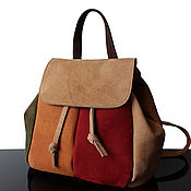 Сумки и аксессуары handmade. Livemaster - original item Suede backpack, olive. Handmade.