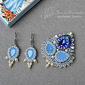 Украшения handmade. Livemaster - original item Brooch and earrings beaded with pearls, Swarovski Infanta blue. Handmade.