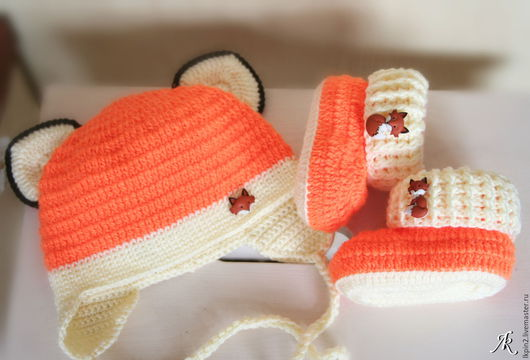 """Для новорожденных, ручной работы. Ярмарка Мастеров - ручная работа. Купить Комплект """"Мой любимый лисёнок"""". Handmade. Рыжий"""