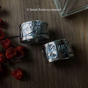 Decorations handmade. Livemaster - original item Anillos: Anillos anchos plata con letras, sin piedras. Handmade.