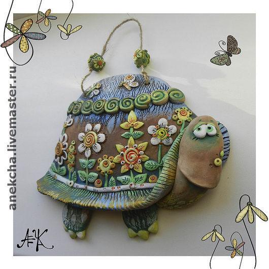 """Животные ручной работы. Ярмарка Мастеров - ручная работа. Купить Керамика, Панно """"Цветочная черепаха"""". Handmade. Керамика, цветы из глины"""