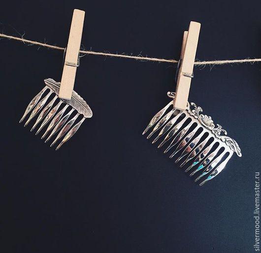 Гребни, расчески ручной работы. Ярмарка Мастеров - ручная работа. Купить Гребешок для волос Листок. Handmade. Серебряный, гребешок
