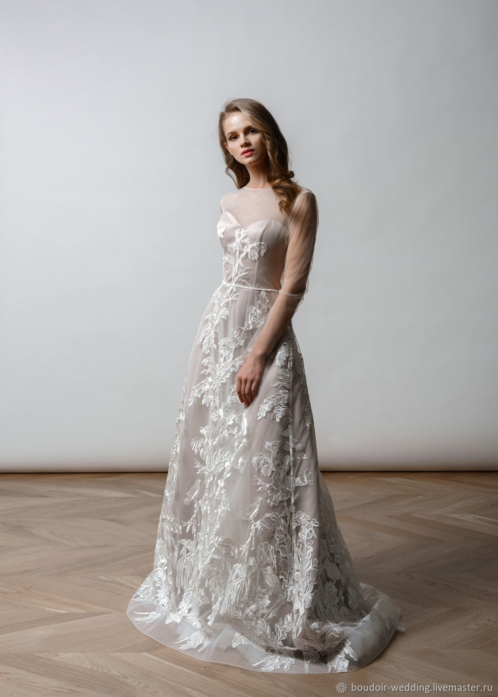 Unusual Two Tone Wedding Dress Is Made Of Flying Tulle And Floral  Embroidery.