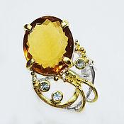 Украшения handmade. Livemaster - original item 925 sterling silver ring with natural honey quartz and topaz. Handmade.