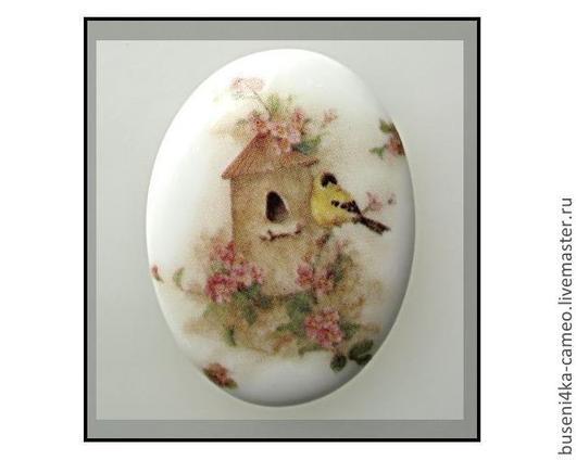 Для украшений ручной работы. Ярмарка Мастеров - ручная работа. Купить Кабошон Птичкин домик 30х40мм, фарфор. Handmade. Камея