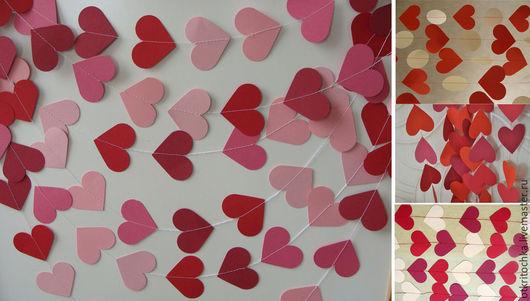 Свадебные аксессуары ручной работы. Ярмарка Мастеров - ручная работа. Купить гирлянда из сердечек (красные оттенки). Handmade. Свадьба