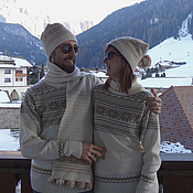 Одежда handmade. Livemaster - original item Men`s knitted sweater with the Norwegian pattern of Snow, wool. Handmade.