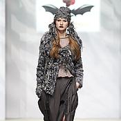 Одежда ручной работы. Ярмарка Мастеров - ручная работа DP_008 Куртка-жакет сизый с брошью. Handmade.