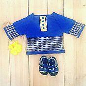 Работы для детей, ручной работы. Ярмарка Мастеров - ручная работа Кофточка с жаккардовым узором для малыша. Handmade.