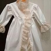 Платье ручной работы. Ярмарка Мастеров - ручная работа Длинное крестильное платье с французским кружевом Царевна. Handmade.