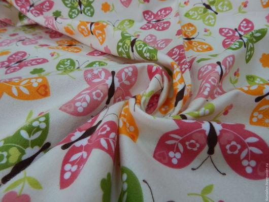 """Шитье ручной работы. Ярмарка Мастеров - ручная работа. Купить Фланель """"бабочки"""". Handmade. Комбинированный, ткань хлопок, ткани для одежды"""