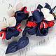 кулон№1 в морском стиле с сине-красно-белой орхидеей. Цена 950р Серьги орхидеи 300р На заказ