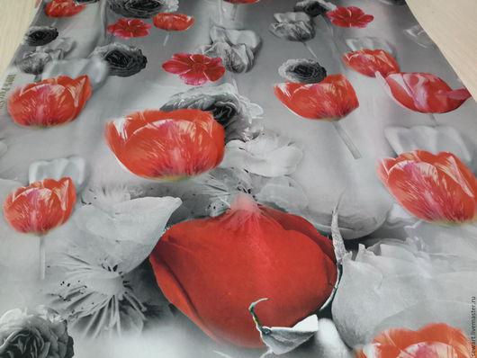Шитье ручной работы. Ярмарка Мастеров - ручная работа. Купить Шикарный натуральный шелк с тюльпанами Италия. Handmade. Ярко-красный