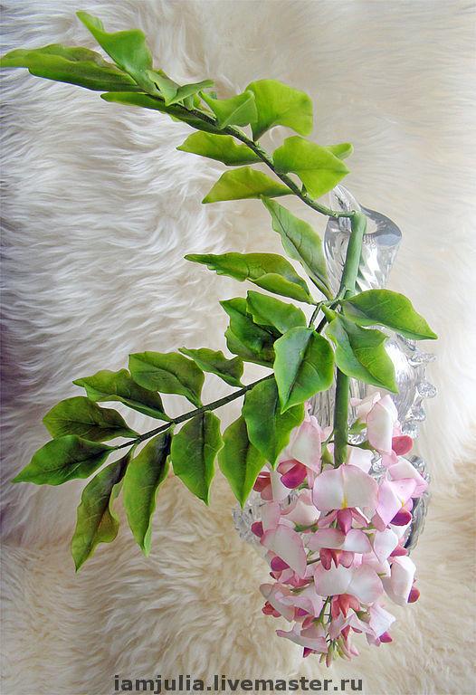 Искусственные растения ручной работы. Ярмарка Мастеров - ручная работа. Купить Цветок из Холодного Фарфора лициния Вистерия Розовая. Handmade.