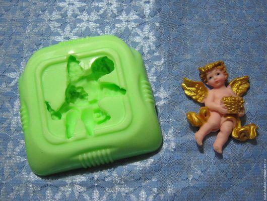 Силиконовая форма `Ангел с корзинкой` для изготовления мыла, гипсовых фигурок.