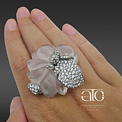 Rings handmade. Livemaster - original item Ring with carved rose quartz and CZ. 925 sterling silver. Exclusive. Handmade.