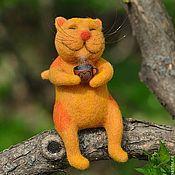 Куклы и игрушки ручной работы. Ярмарка Мастеров - ручная работа Рыжий котенок с чаем. Handmade.
