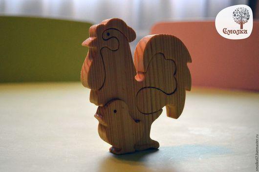 Новый год 2017 ручной работы. Ярмарка Мастеров - ручная работа. Купить Петушок с цыпленком-пазл. Развивающая деревянная игрушка.. Handmade.