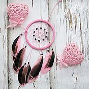 """Ловец снов ручной работы. Ярмарка Мастеров - ручная работа Ловец снов """"Утиные истории"""" розовый. Handmade."""