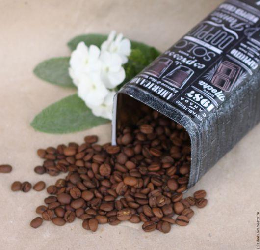 Жестяная банка `Black coffee`. Мастерская добрых вещей `Солнце за пазухой`. Юлия Shark. Ярмарка Мастеров. Емкости для хранения. Банка для кофе. Короб для чая.