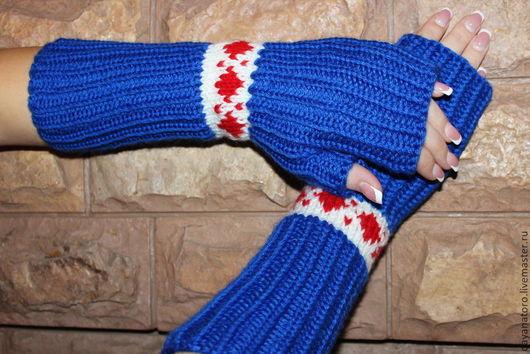 """Варежки, митенки, перчатки ручной работы. Ярмарка Мастеров - ручная работа. Купить Митенки  """"С Браслетом""""Синие. Handmade. Тёмно-синий"""