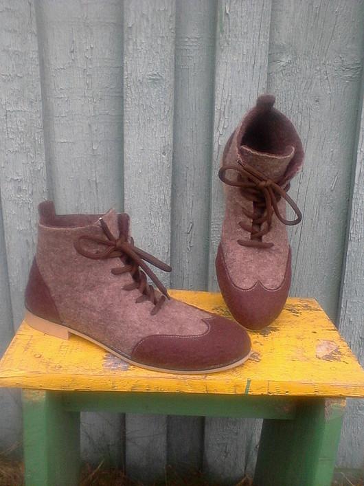"""Обувь ручной работы. Ярмарка Мастеров - ручная работа. Купить Войлочные ботинки """"CHICAGO noble brown"""". Handmade. Мужская обувь"""