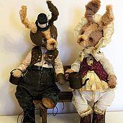 Куклы и игрушки ручной работы. Ярмарка Мастеров - ручная работа Два зайца. Handmade.