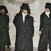 Одежда ручной работы. Ярмарка Мастеров - ручная работа A_002 Пальто-годе в синюю полоску с сизой подкладкой. Handmade.