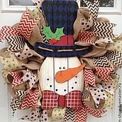 Подарки к праздникам ручной работы. Ярмарка Мастеров - ручная работа новогодний веночек на дверь. Handmade.