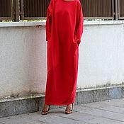 Одежда ручной работы. Ярмарка Мастеров - ручная работа Красное длинное макси платье, кафтан, абайя с длинными рукавами. Handmade.