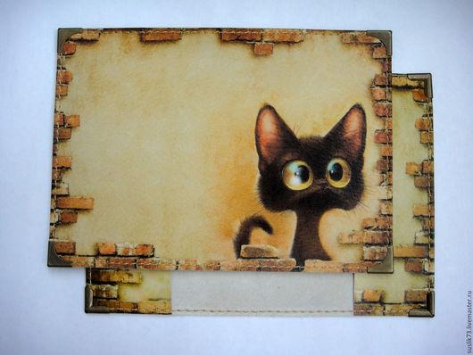 """Персональные подарки ручной работы. Ярмарка Мастеров - ручная работа. Купить обложка для паспорта """"любопытный кот2"""". Handmade. Подарок"""