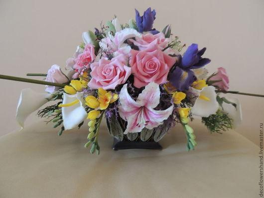 Интерьерные композиции ручной работы. Ярмарка Мастеров - ручная работа. Купить бУКЕТ с ирисами. Handmade. Розовый, розы, нежно-розовый