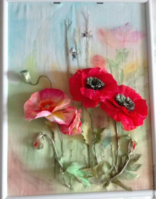 Картины цветов ручной работы. Ярмарка Мастеров - ручная работа. Купить Маки. Handmade. Комбинированный, маки, материалы для рукоделия