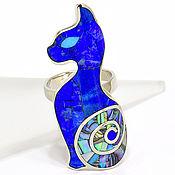 Украшения handmade. Livemaster - original item Ring kitty. Ring with lapis Lazuli, mother of Pearl, Turquoise.. Handmade.