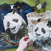 T-shirt for kids handmade. Livemaster - original item children`s t-shirt Panda. Handmade.