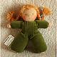Вальдорфская игрушка ручной работы. Заказать Куколка в пришивном комбинезоне (зеленая). Мастерская Шью.Вяжу (@sew.knit). Ярмарка Мастеров.