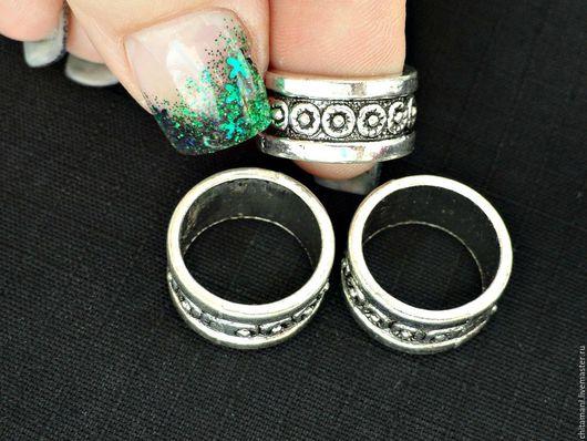 1КОНС-59 кольцо  цвет античное серебро размер 18*9мм отверстие 15мм