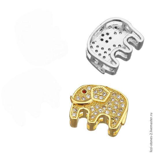 Бусина-коннектор Слоник, серебро и золото (Milano) Евгения (Lizzi-stones-2)