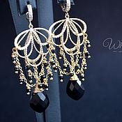 Украшения handmade. Livemaster - original item Evening earrings with black spinel and matte gold. Handmade.