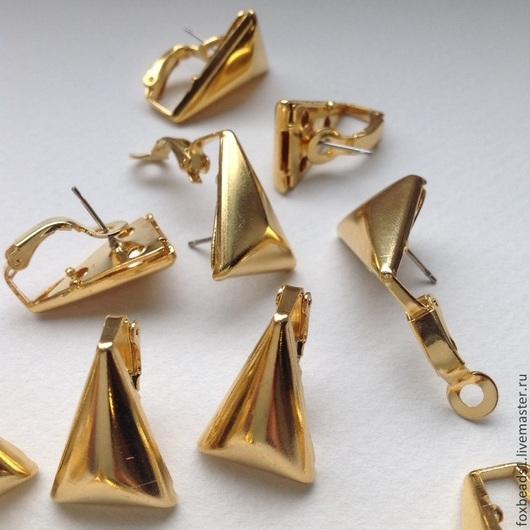 Для украшений ручной работы. Ярмарка Мастеров - ручная работа. Купить Винтажные швензы с прижимной лапкой. 21х15мм треугольные позолоченные. Handmade.