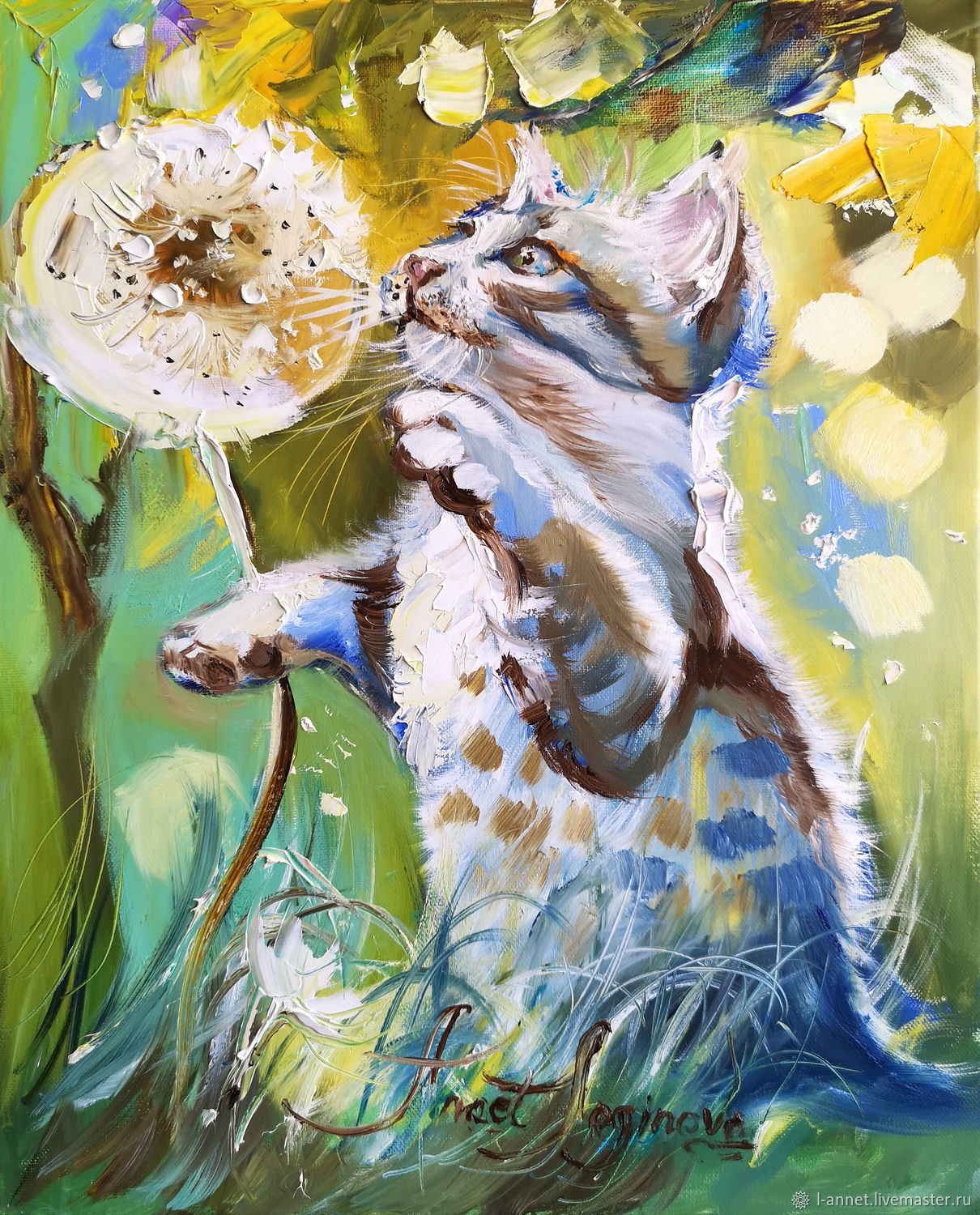 Blue cat - cat Painting - oil painting on canvas, Pictures, Moscow,  Фото №1