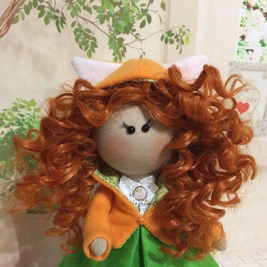 Куклы тыквоголовки ручной работы. Ярмарка Мастеров - ручная работа. Купить Интерьерная кукла Лисичка. Handmade. Интерьерная игрушка