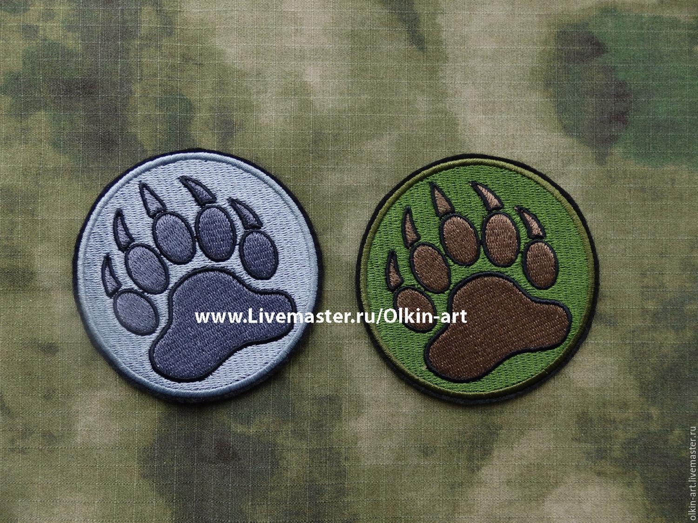Stripe `BEAR's PAW` (grey / black) Machine embroidery. Beloretskiy stripe. Patch. Chevron. Patch. Embroidery. Chevrons. Patches. Stripe. Buy patch.