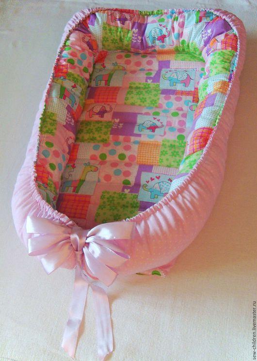 Для новорожденных, ручной работы. Ярмарка Мастеров - ручная работа. Купить Гнездо для новорожденного. Handmade. Розовый, babynest, детская комната