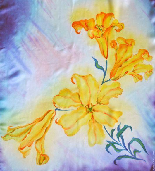 Шали, палантины ручной работы. Ярмарка Мастеров - ручная работа. Купить Батик шарф шелковый Желтые лилии. Handmade. Комбинированный