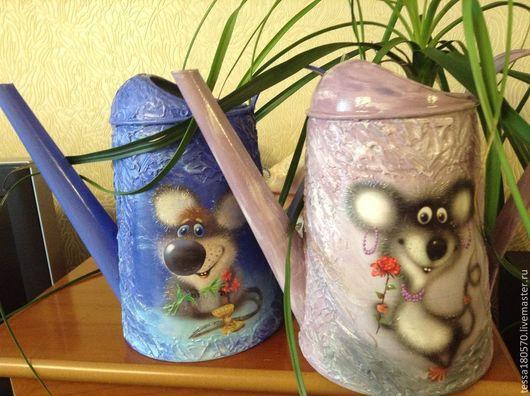 """Лейки ручной работы. Ярмарка Мастеров - ручная работа. Купить Лейка """"Веселая мышь"""". Handmade. Тёмно-синий"""