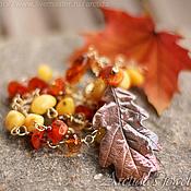 Колье ручной работы. Ярмарка Мастеров - ручная работа Осеннее колье из натуральных камней. Handmade.