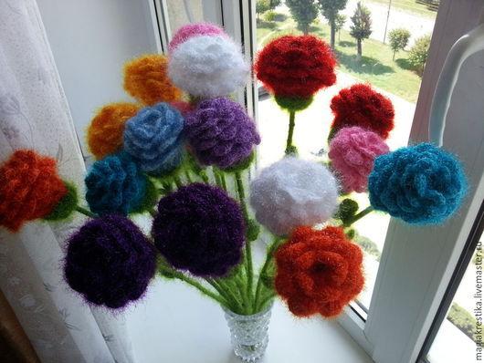 Цветы ручной работы. Ярмарка Мастеров - ручная работа. Купить Вязанные цветы розы. Handmade. Разноцветный, комнатные цветы, для женщин